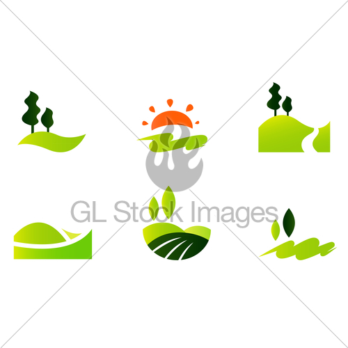 500x500 Rolling Hills Icons Isolated On White Gl Stock Images