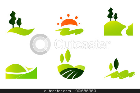 450x298 Rolling Hills Icons Isolated On White Stock Vector