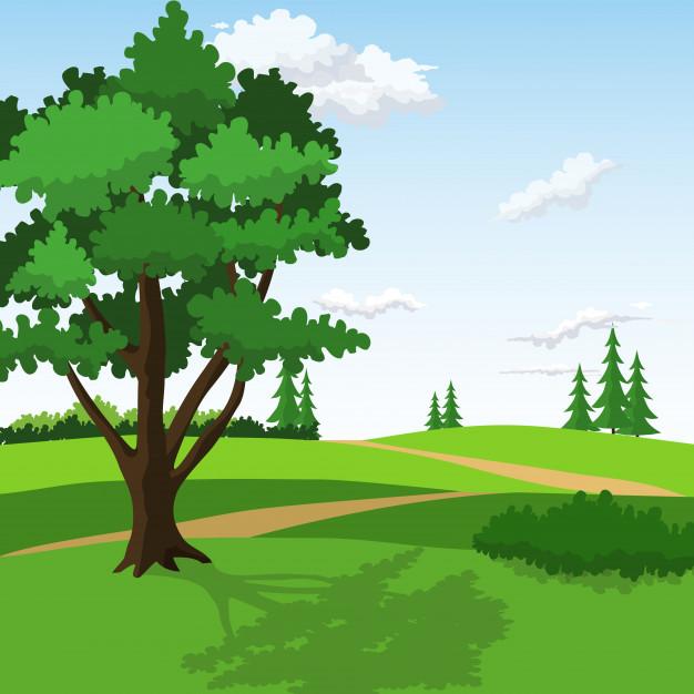 626x626 Rolling Hills With Big Tree And Pathway Between. Vector Premium