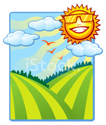 372x439 Summer Sun Shine And Rolling Hills Stock Vector