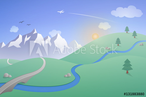 500x334 Vector Landscape With Mountains. A Simple Illustration With
