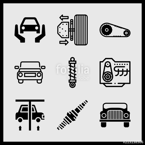 500x500 Simple 9 Icon Set Of Car Related Spark Plug, Rolls Royce Luxury