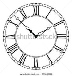 Roman Numeral Clock Face Vector