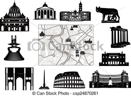 450x333 Rome. Black And White Map And Hallmarks. Black And White Map Of