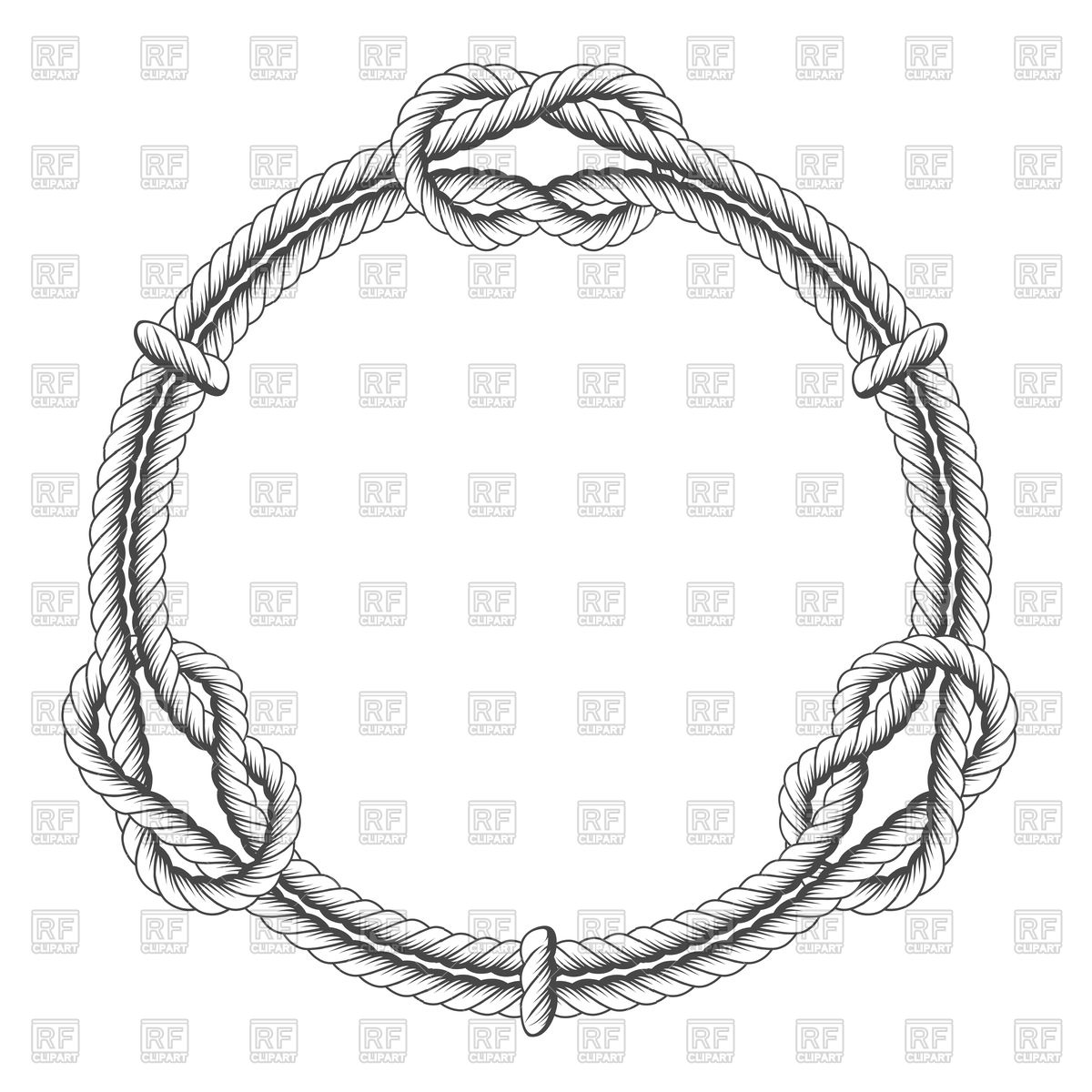 1200x1200 Twisted Rope Circle Frame With Knots Vector Image Vector Artwork