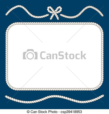 450x470 Nautical Ropes And Bow Frame. Twisted Cord Design, Vector