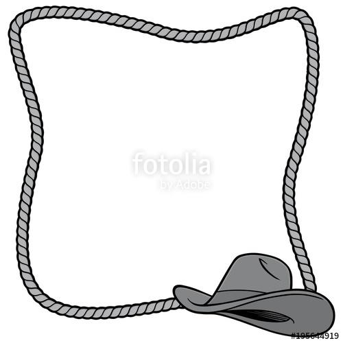 500x500 Rope Frame And Cowboy Hat Illustration