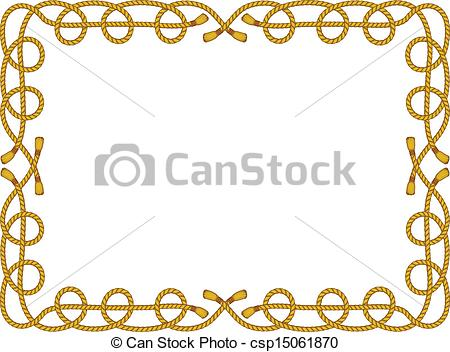 450x352 Rope Frame Isolated On White. Vector Frame From Rope Isolated On