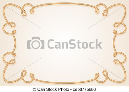 450x320 Rope Frame. Frame Made Of Rope. Cartoon Illustration For Design.