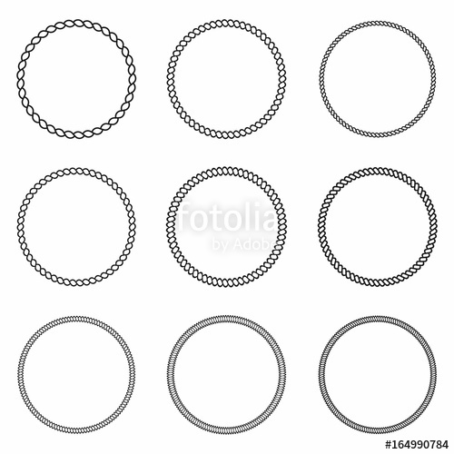 500x500 Rope Frame. Set Of Round Vector Frames From Nautical Rope. Round