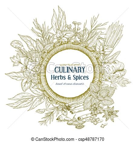 450x470 Round Rope Frame Surrounded By Culinary Herbs And Spices, Vector