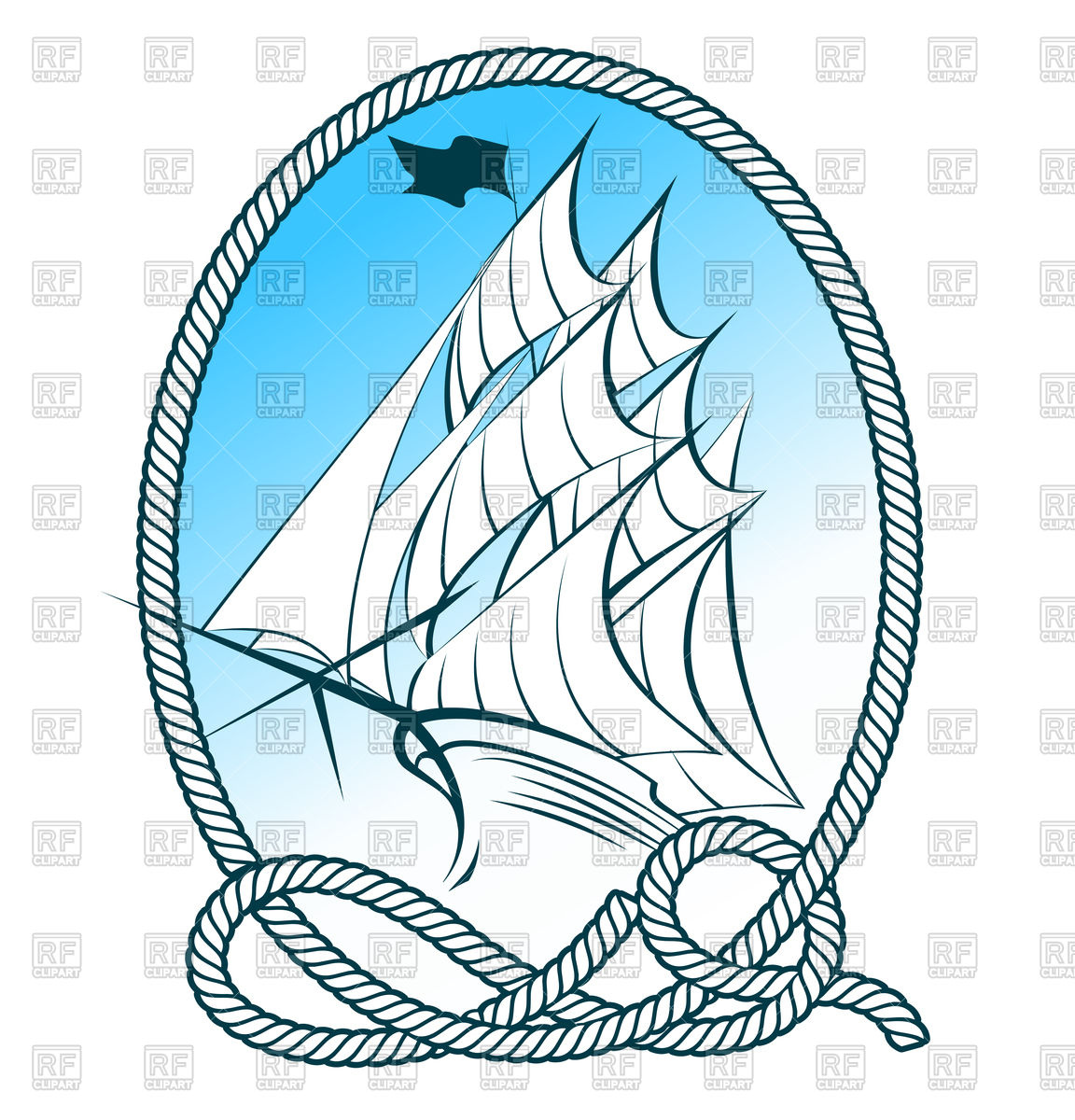 1152x1200 Sail Ship In Rope Frame