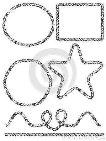 338x450 Set Of Hand Drawn Rope Frames. Vector Illustration By Gleolite