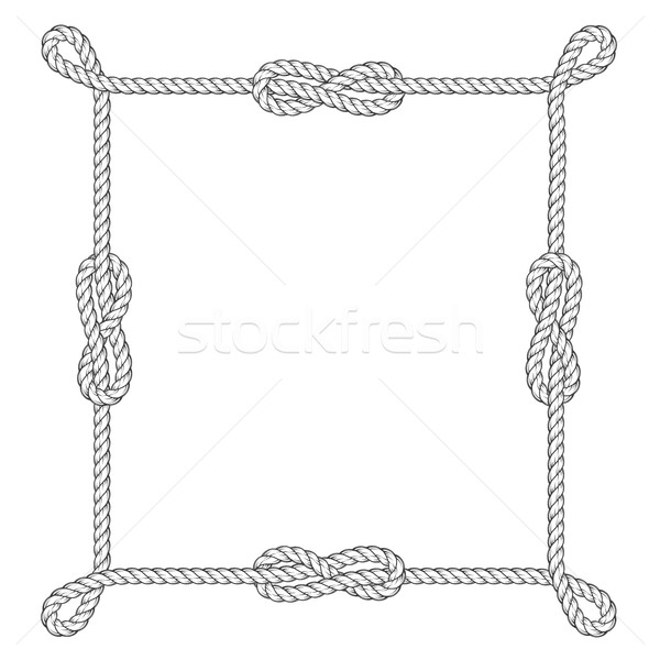 600x600 Square Rope Frame With Knots And Loops Vector Illustration Ann