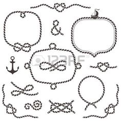236x236 Monochrome Circle Rope Frame Vector