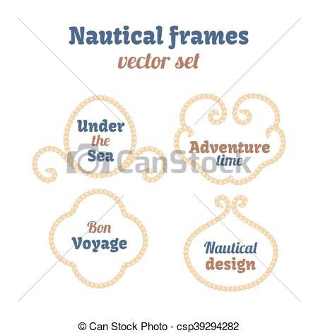 450x470 Nautical Frames Set. Ropes Swirls. Decorative Vector Knots