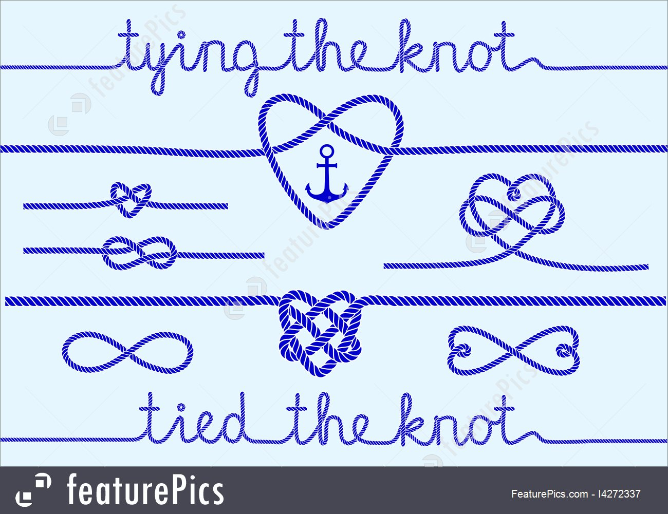 1300x1001 Rope Hearts And Knots, Vector Set