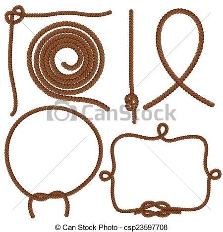 450x470 Ropes And Knots. Set Ropes, Knots And Frames. Vector Isolated On