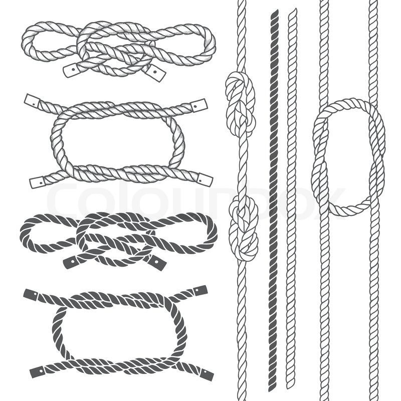 800x800 Set Of Marine Rope, Knots. Vector Elements On A White Background