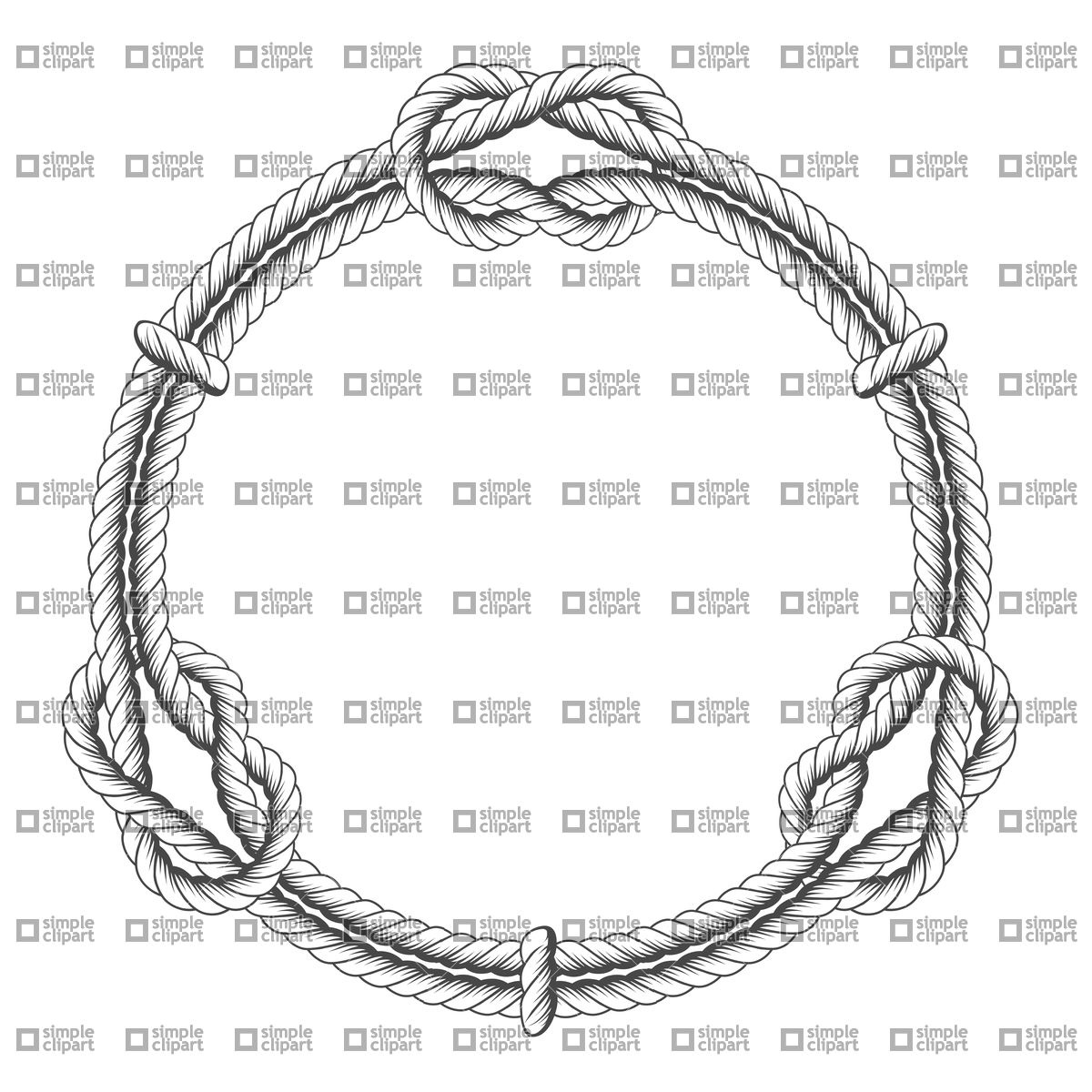 1200x1200 Twisted Rope Circle Frame With Knots Vector Image
