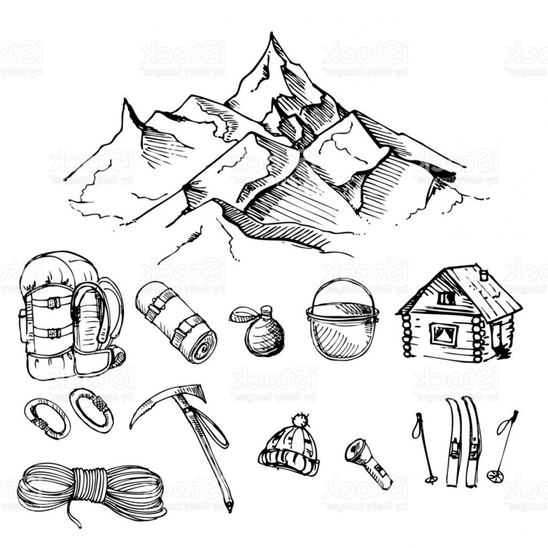 1228x1228 Hand Drawn Ink Vector Set Of Climbing Mountain Camping Mountain