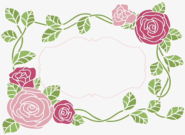 650x472 Romantic Rose Bunny Border, Vector Png, Romantic Decorative Frame
