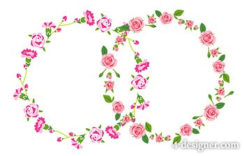 350x224 4 Designer Rose Border Rose Border Vector Material