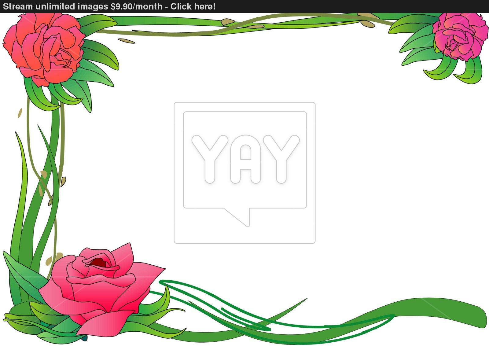 1600x1132 Rose Border Vector