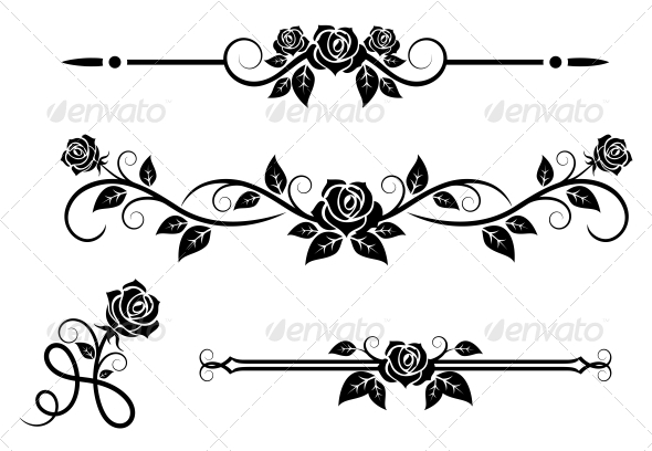 590x408 Rose Flowers With Vintage Elements By Vectortradition Graphicriver