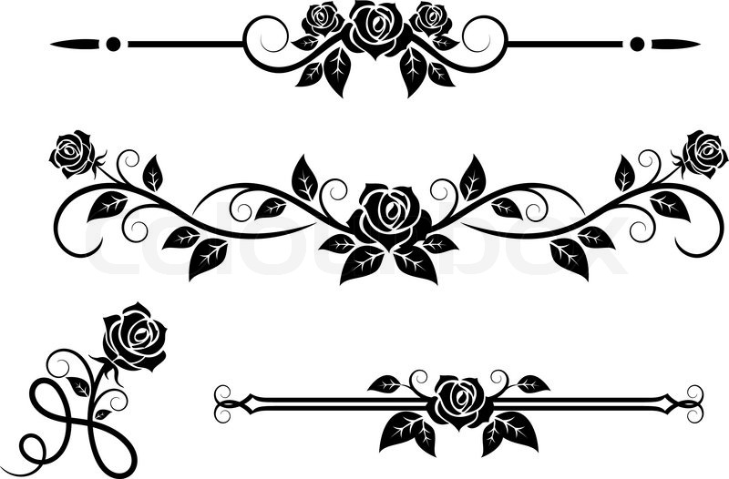 800x526 Rose Flowers With Vintage Elements And Borders Stock Vector