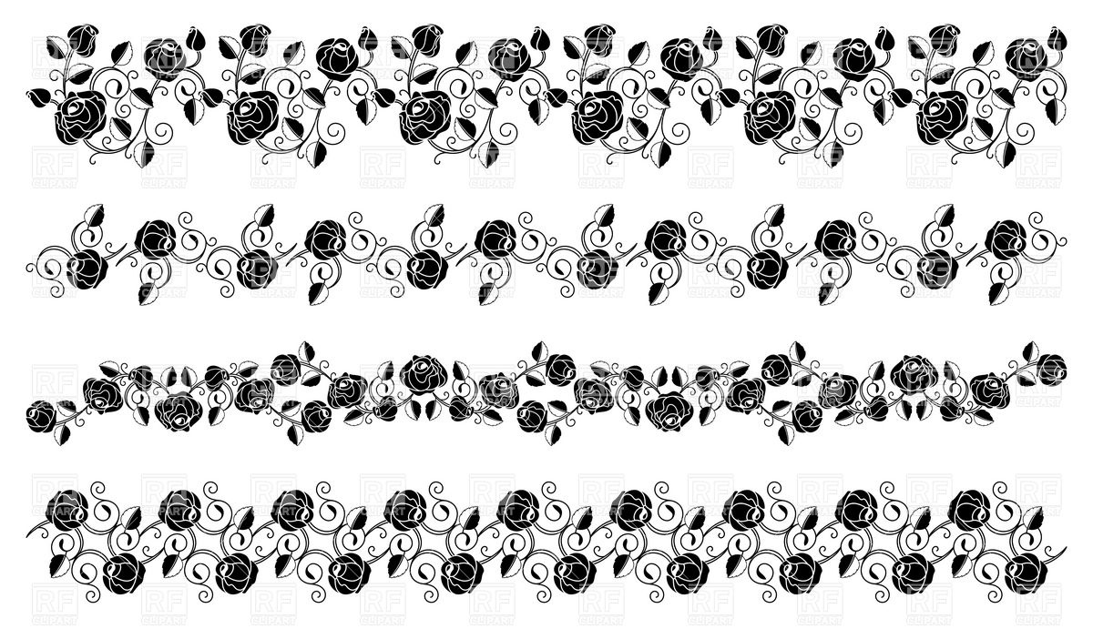 1200x691 Black Rose Borders Vector Image Vector Artwork Of Design