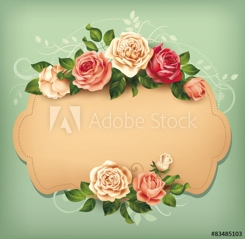 500x488 Blank Card With Rose Border. Vector Illustration.