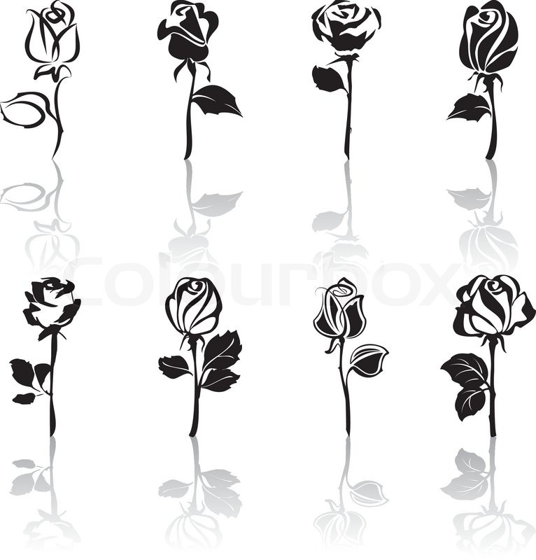 766x800 Icon Set Of Roses With Reflections Stock Vector Colourbox