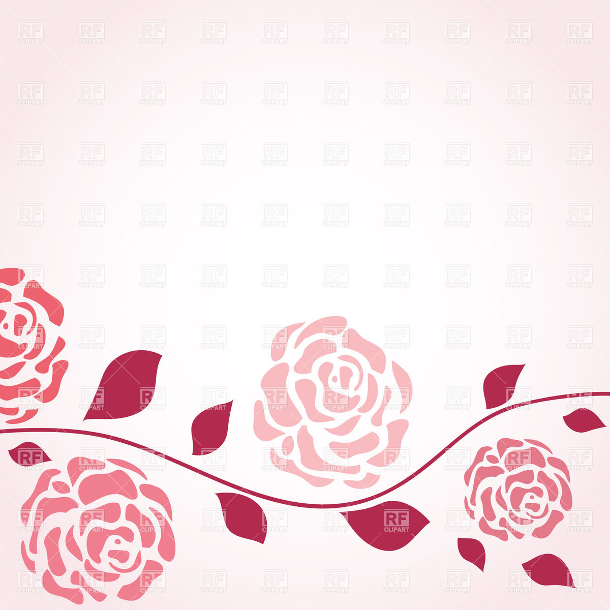 1200x1200 Retro Card With Stylized Buds Of Roses Vector Image Vector