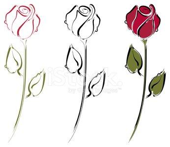 346x300 Rosebud Line Art Stock Vectors
