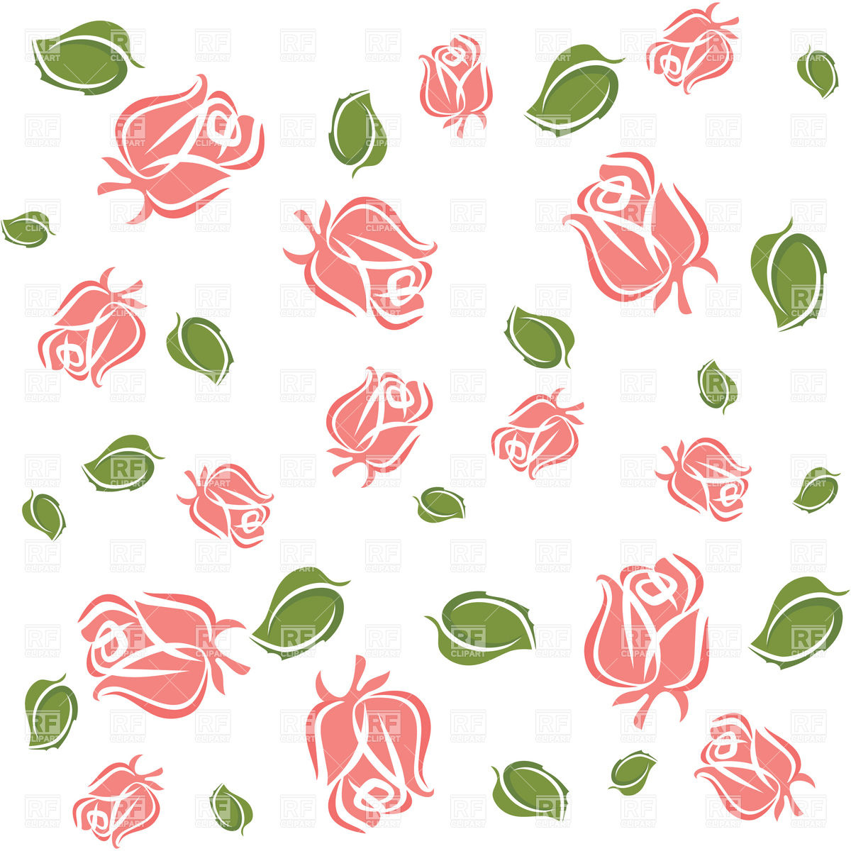 1200x1200 Wallpaper With Rose Buds And Leaves Vector Image Vector Artwork