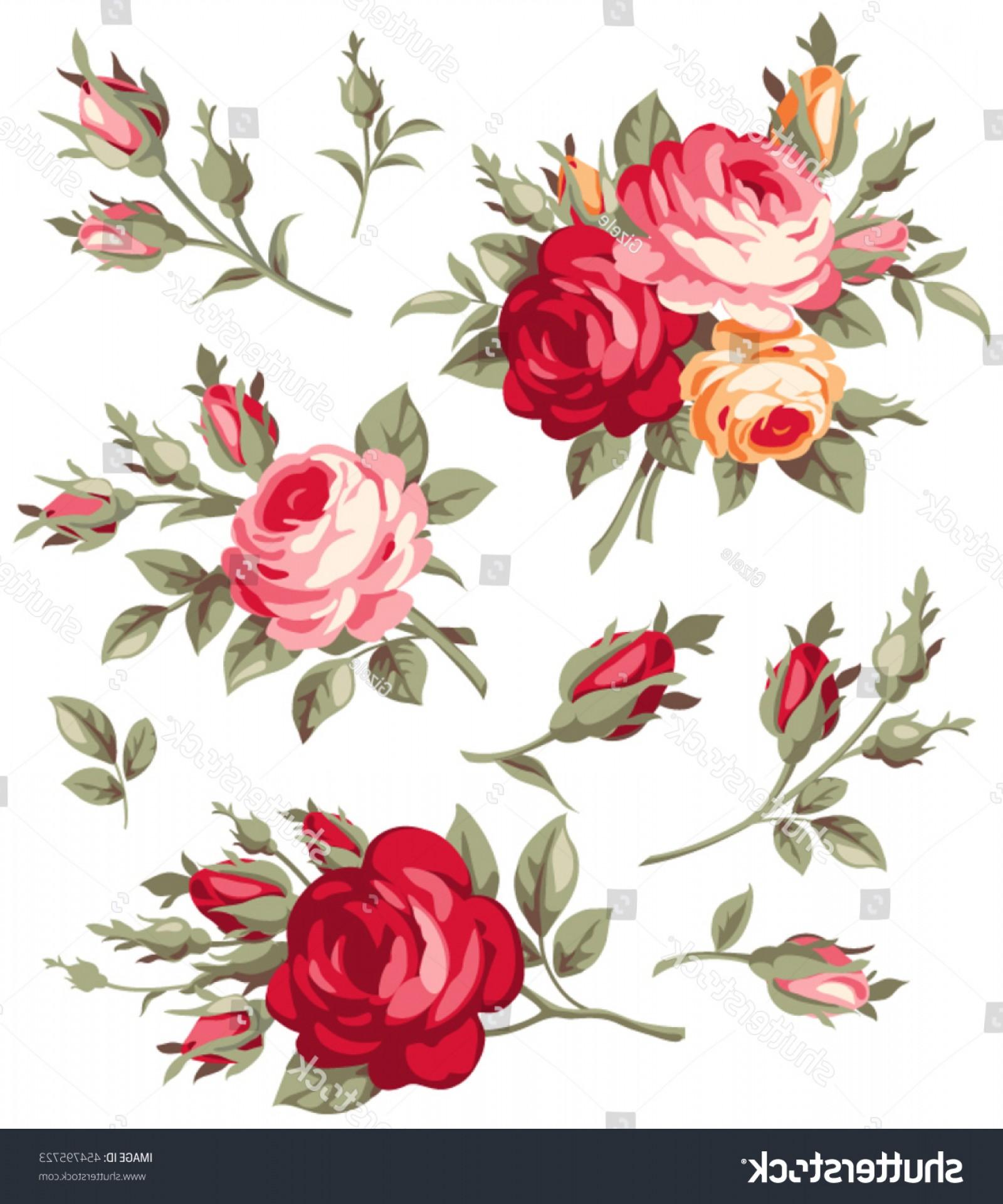 1600x1920 Decorative Vintage Rose Bud Vector Set Createmepink