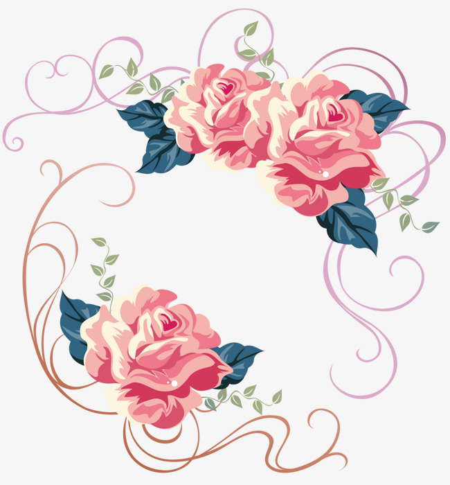 650x700 Pink Roses Flowers Vector Illustration Material, Vector, Rose