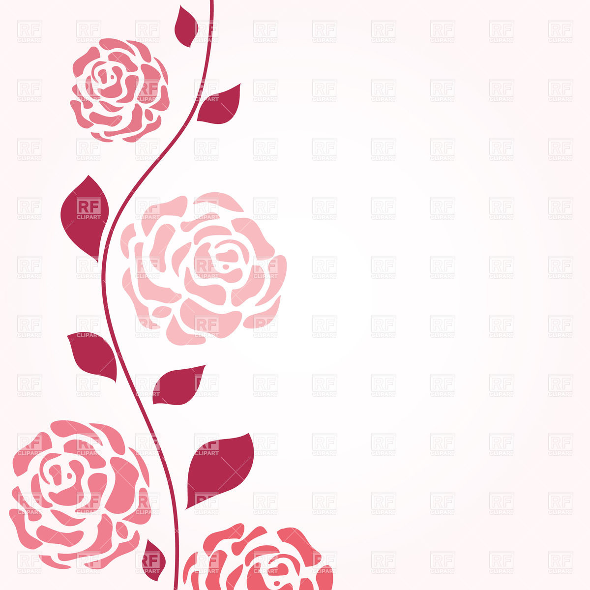 1200x1200 Abstract Rose Stem With Flowers Vector Image Vector Artwork Of