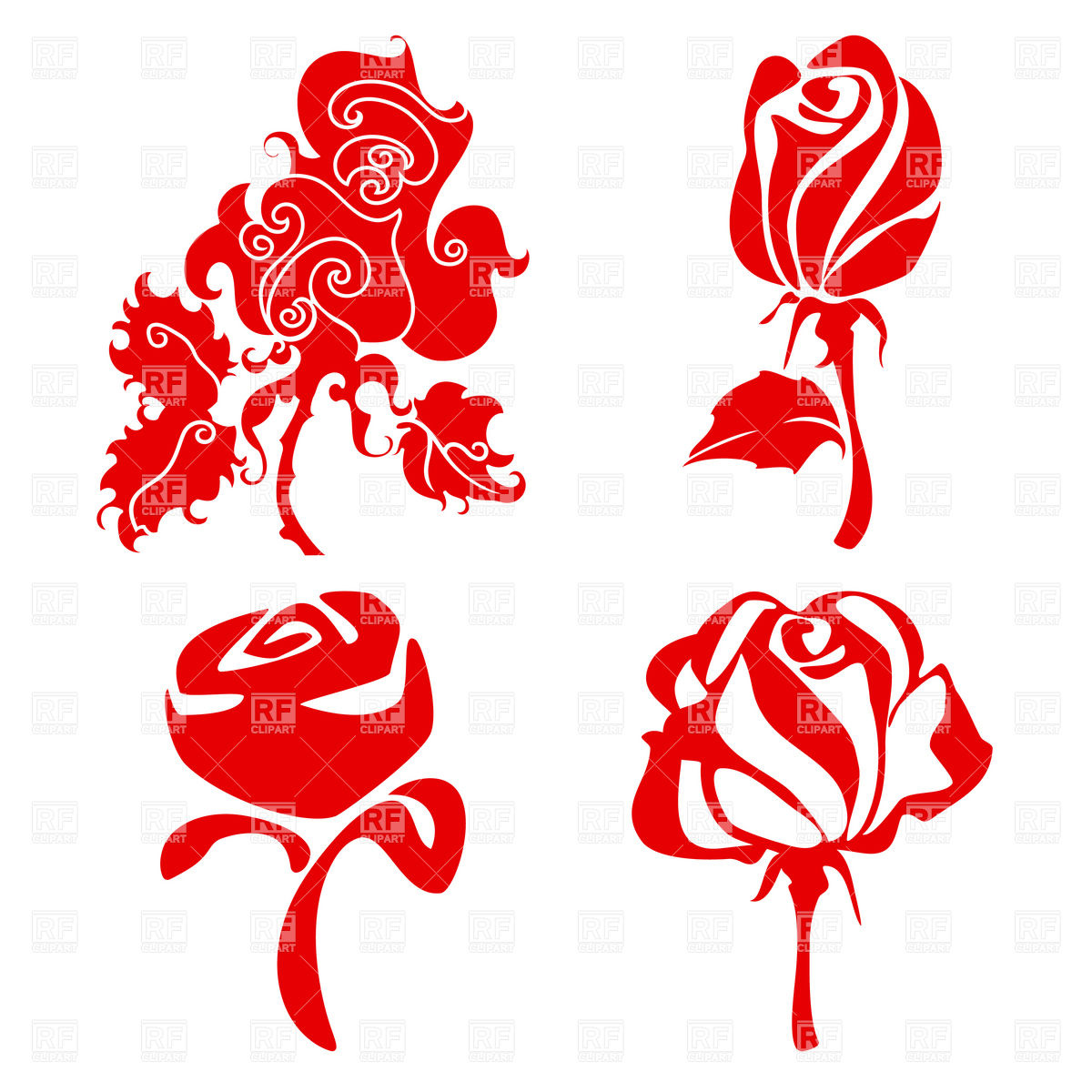 1200x1200 Simple Rose Flower Sketch In Different Styles Vector Image