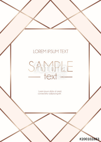 355x500 Geometric Rose Gold Design Template With Blush Pink And White