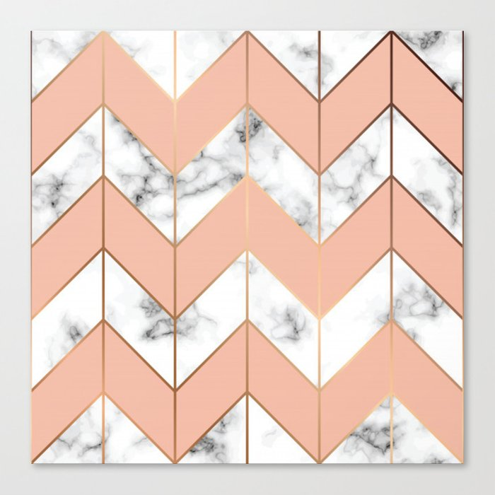 700x700 Luxe Rose Gold Vector On Black And White Marble Canvas Print By