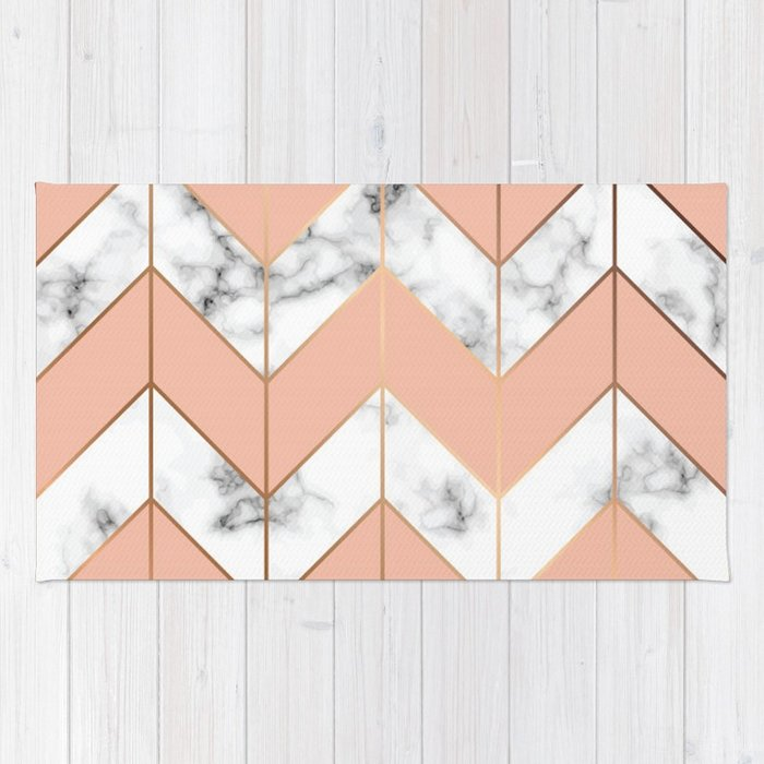 700x700 Luxe Rose Gold Vector On Black And White Marble Rug By