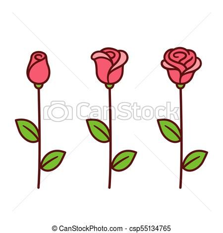 450x470 Cartoon Rose Set. Cartoon Style Red Rose Icon Set. Three Stages Of