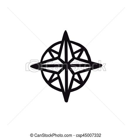 450x470 Compass Wind Rose Sketch Icon. Compass Wind Rose Vector Sketch