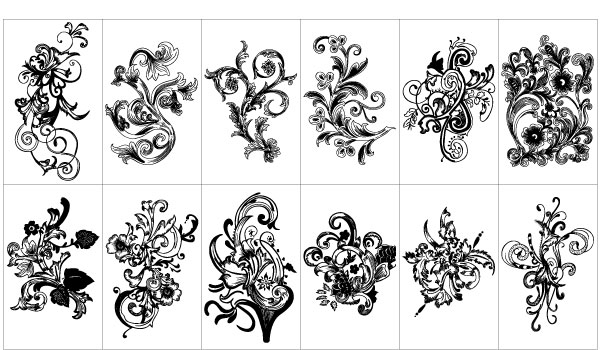 600x350 Free Graphics Vintage Vector Flowers And Floral Ornament Sets