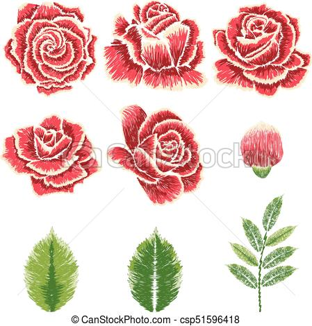 449x470 Embroidery Rose Ornament. Decorative Embroidery Design With Roses