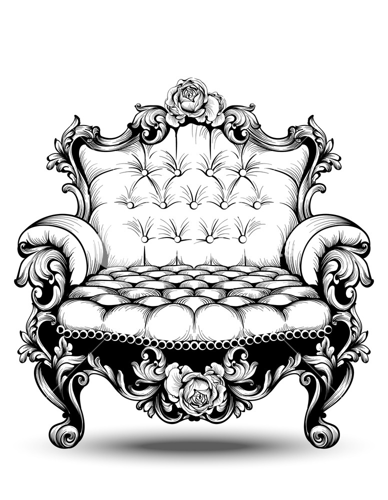 776x1000 Luxury Baroque Armchair With Elegant Rose Floral Ornaments. Vector