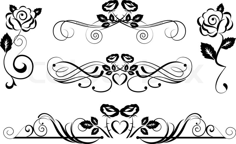 800x489 Ornamental Dividers With Rose Flowers Stock Vector Colourbox