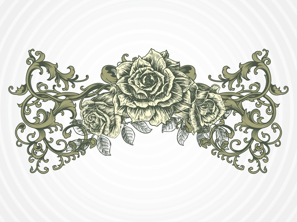 1024x765 Antique Rose Vector Vector Art Amp Graphics